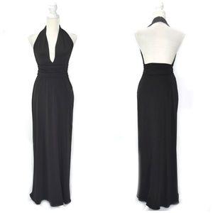 LAUNDRY Black Halter Plunge Open Back Maxi Dress